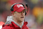 FILE - Nebraska head coach Scott Frost calls instructions during the first half of an NCAA college football game against Iowa in Lincoln, Neb., in this Friday, Nov. 29, 2019, file photo. Nebraska is 12-20 in three years under Frost. The Cornhuskers, who haven't had a winning season since 2016, open Aug. 28 at Illinois.(AP Photo/Nati Harnik, File)