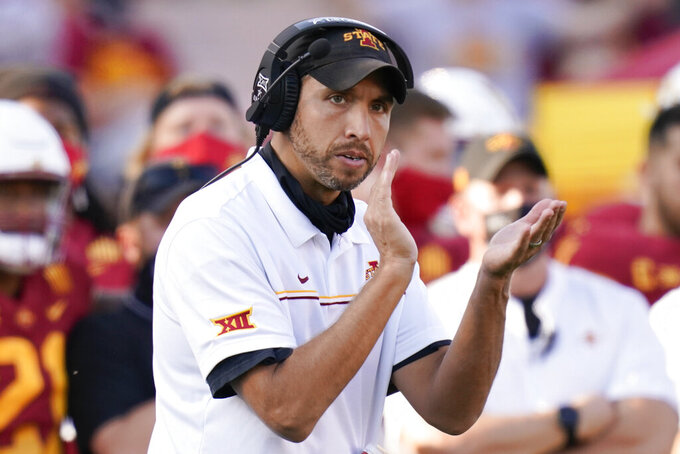 FILE - In this Oct. 10, 2020, file photo, Iowa State head coach Matt Campbell reacts on the sideline during the second half of an NCAA college football game against Texas Tech in Ames, Iowa. Coming off the best season in program history, Iowa State coach Matt Campbell sees no need to tinker with the offense or defense, and with 20 starters returning, competition for jobs is limited. (AP Photo/Charlie Neibergall, File)