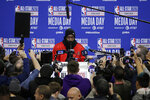 James Harden, of the Houston Rockets, speaks at the NBA All-Star basketball game media day, Saturday, Feb. 15, 2020, in Chicago.  (AP Photo/Nam Y. Huh)