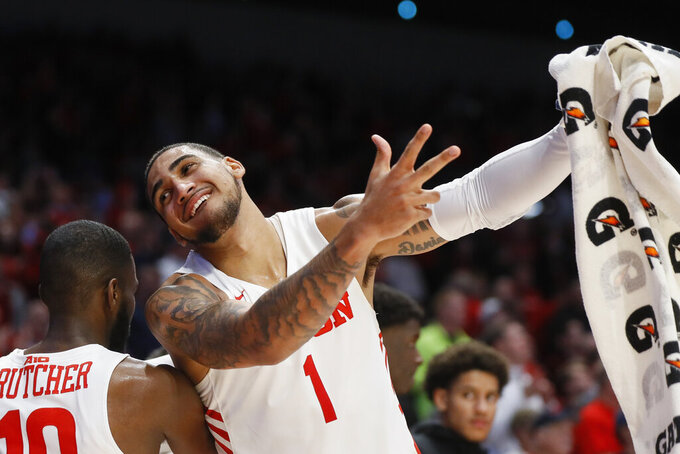 Dayton's Obi Toppin (1) celebrates during the second half of the team's NCAA college basketball game against Virginia Commonwealth, Tuesday, Jan. 14, 2020, in Dayton, Ohio. (AP Photo/John Minchillo)