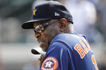 Houston Astros manager Dusty Baker watches batting practice before a spring training baseball game against the Detroit Tigers Monday, Feb. 24, 2020, in Tampa. (AP Photo/Frank Franklin II)