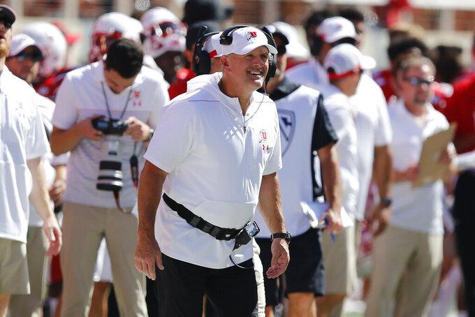 Utah head coach Kyle Whittingham looks on in the first half of an NCAA college football game against Idaho State Saturday, Sept. 14, 2019, in Salt Lake City. (AP Photo/Rick Bowmer)