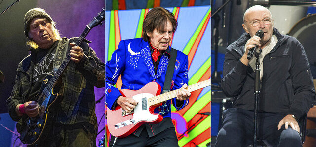 In this combination photo, Neil Young performs at the BottleRock Napa Valley Music Festival in Napa, Calif. on May 25, 2019, from left, John Fogerty performs at the New Orleans Jazz and Heritage Festival in New Orleans on May 5, 2019 and Phil Collins performs during his