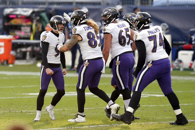 Baltimore Ravens kicker Justin Tucker (9) is congratulated after kicking a 51-yard field goal against the Tennessee Titans in the second half of an NFL wild-card playoff football game Sunday, Jan. 10, 2021, in Nashville, Tenn. (AP Photo/Mark Zaleski)