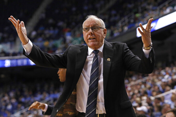 Syracuse head coach Jim Boeheim reacts during the first half of an NCAA college basketball game against North Carolina at the Atlantic Coast Conference tournament in Greensboro, N.C., Wednesday, March 11, 2020. (AP Photo/Ben McKeown)