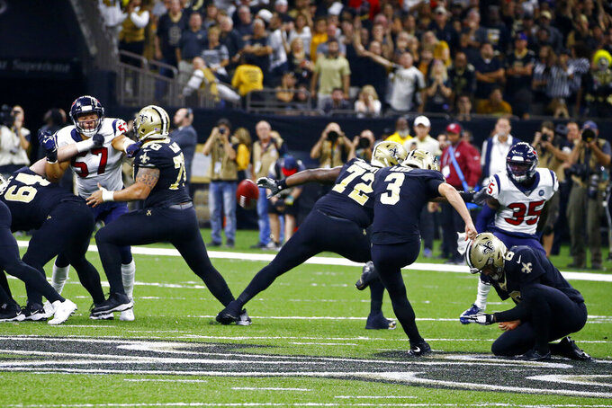 New Orleans Saints kicker Wil Lutz (3) kicks a 58 yard field goal at the end of regulation in the second half of an NFL football game against the Houston Texans in New Orleans, Monday, Sept. 9, 2019. The Saints won 30-28. (AP Photo/Butch Dill)