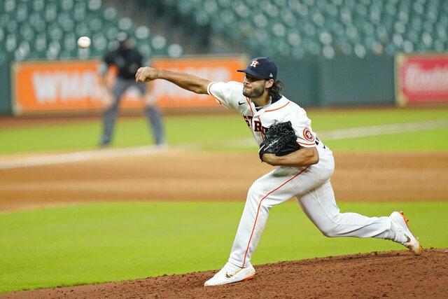 Houston Astros starting pitcher Lance McCullers Jr. throws against the San Francisco Giants during the fifth inning of a baseball game Monday, Aug. 10, 2020, in Houston. (AP Photo/David J. Phillip)