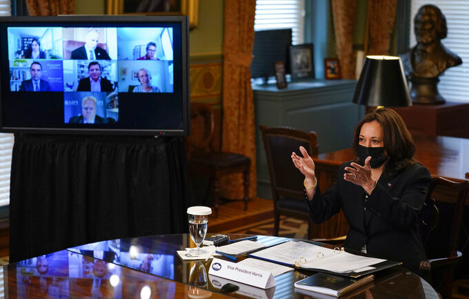 Vice President Kamala Harrisspeaks at a virtual meeting with outside national security experts in Vice President's ceremonial office at the Eisenhower Executive Office Building on the White House complex in Washington, Wednesday, April 14, 2021. (AP Photo/Carolyn Kaster)