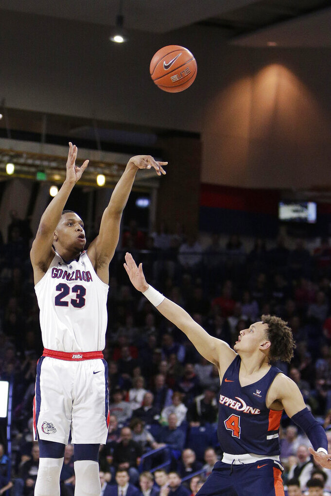 Gonzaga guard Zach Norvell Jr. (23) shoots over Pepperdine guard Colbey Ross (4) during the first half of an NCAA college basketball game in Spokane, Wash., Thursday, Feb. 21, 2019. (AP Photo/Young Kwak)