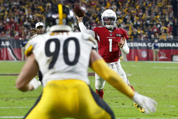 Arizona Cardinals quarterback Kyler Murray (1) throws an interception in the end zone to Pittsburgh Steelers outside linebacker T.J. Watt (90) during the second half of an NFL football game, Sunday, Dec. 8, 2019, in Glendale, Ariz. (AP Photo/Ross D. Franklin)