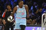 Miami Heat's Bam Adebayo participates in NBA basketball's All-Star skills challenge Saturday, Feb. 15, 2020, in Chicago. (AP Photo/David Banks)