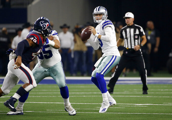 Houston Texans linebacker Jamal Davis (49) pressures as Dallas Cowboys quarterback Mike White (3) prepares to throw a pass during the second half of a preseason NFL football game in Arlington, Texas, Saturday, Aug. 24, 2019. (AP Photo/Ron Jenkins)