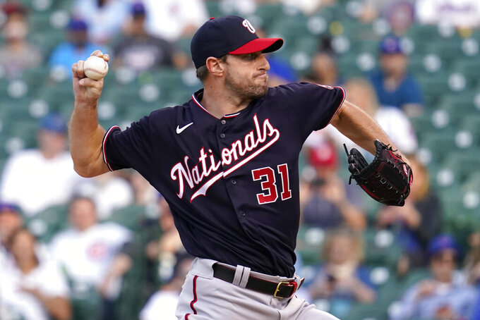 Washington Nationals starting pitcher Max Scherzer throws against the Chicago Cubs during the first inning of a baseball game in Chicago, Wednesday, May 19, 2021. (AP Photo/Nam Y. Huh)