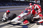 Simona De Silvestro, of Switzerland, pits during the Indianapolis 500 auto race at Indianapolis Motor Speedway in Indianapolis, Sunday, May 30, 2021. (AP Photo/Michael Conroy)
