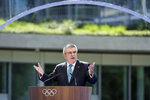 International Olympic Committee (IOC) president Thomas Bach delivers a speech during the inauguration of the new IOC headquarter on Sunday,  June 23, 2019 in Lausanne ahead of the decision on 2026 Winter Games host. (Fabrice Coffrini/Pool/Keystone via AP)