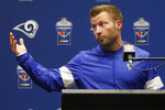 Los Angeles Rams head coach Sean McVay speaks at a news conference after an NFL football game between the Rams and the Cincinnati Bengals, Sunday, Oct. 27, 2019, at Wembley Stadium in London. (AP Photo/Frank Augstein)