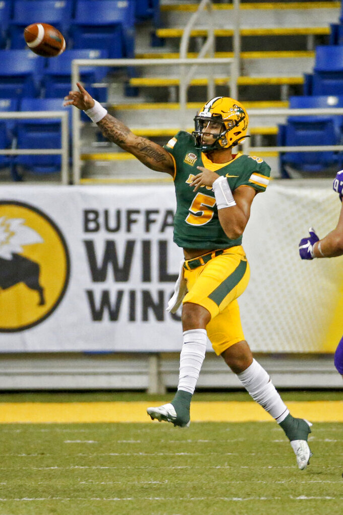 North Dakota State quarterback Trey Lance passes against Central Arkansas in the third quarter of an NCAA college football game Saturday, Oct. 3, 2020, in Fargo, N.D. North Dakota State won 39-28. (AP Photo/Bruce Kluckhohn)