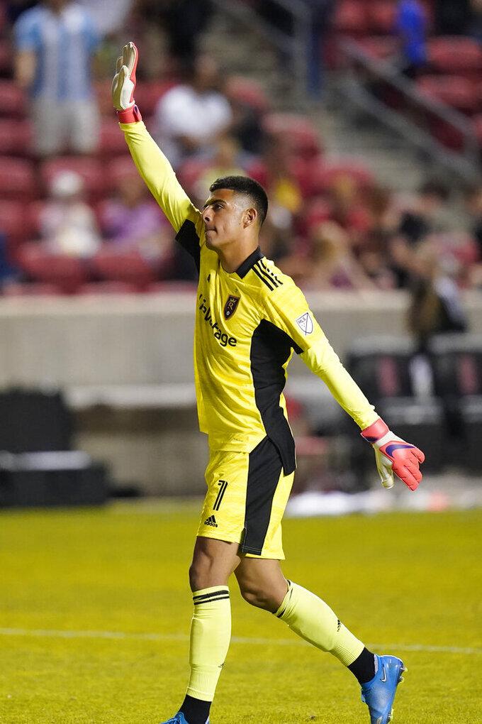 Real Salt Lake goalkeeper David Ochoa (1) waves to fans following an MLS soccer match against Nashville SC, Saturday, May 15, 2021, in Salt Lake City. (AP Photo/Rick Bowmer)
