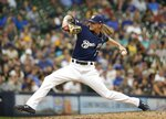 Milwaukee Brewers' Josh Hader throws during the ninth inning of a baseball game against the San Diego Padres Thursday, Sept. 19, 2019, in Milwaukee. The Brewers won 5-1. (AP Photo/Morry Gash)