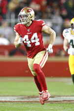 San Francisco 49ers fullback Kyle Juszczyk (44) covers a kickoff return in the NFL NFC Championship football game against the Green Bay Packers, Sunday, Jan. 19, 2020 in Santa Clara, Calif. The 49ers defeated the Packers 37-20. (Margaret Bowles via AP)