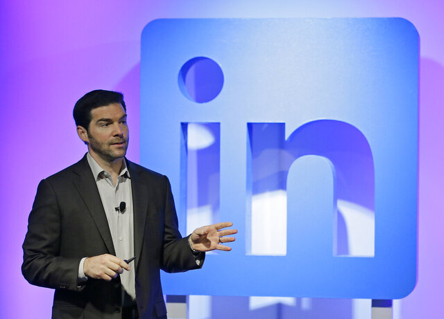 FILE - In this Sept. 22, 2016 file photo, LinkedIn CEO Jeff Weiner speaks during a product announcement at his company's headquarters in San Francisco.   Weiner will become executive chairman after 11 years as CEO of the Microsoft-owned business. Ryan Roslansky, senior vice president of product, will become CEO as of June 1, 2020.  (AP Photo/Eric Risberg, File)