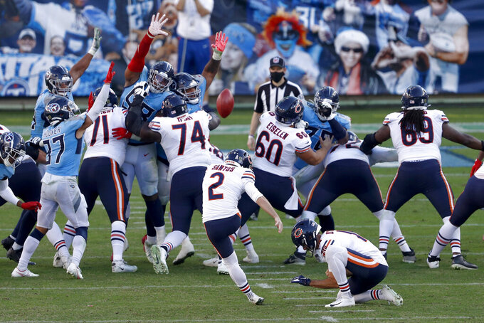 Chicago Bears kicker Cairo Santos (2) kicks a 22-yard field goal in the second half of an NFL football game against the Tennessee Titans Sunday, Nov. 8, 2020, in Nashville, Tenn. (AP Photo/Wade Payne)