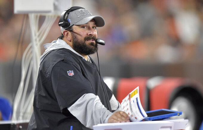 Detroit Lions coach Matt Patricia watches during the first half of the team's NFL preseason football game against the Cleveland Browns, Thursday, Aug. 29, 2019, in Cleveland. (AP Photo/David Richard)