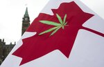 FILE - In this April 20, 2015 file photo, a Canadian flag with a cannabis leaf flies on Parliament Hill during a 4/20 event in Ottawa, Ontario. Another big first for the marijuana industry is in the books: A major Canadian grower, processor and distributor has completed an initial public stock offering in the United States, raising $153 million, just as Canada prepares to legalize the drug nationwide. British Columbia-based Tilray Inc.'s shares began trading Thursday, July 19, 2018, on the Nasdaq stock exchange, initially priced at $17. It quickly jumped to more than $21. (Adrian Wyld/The Canadian Press via AP, File)