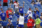 Buffalo Bills fans react as they watch warmups before an NFL football game against the Pittsburgh Steelers in Orchard Park, N.Y., Sunday, Sept. 12, 2021. (AP Photo/Adrian Kraus)