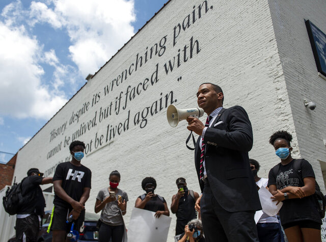 Mayor Steven Reed address demonstrators in Montgomery, Ala., on Wednesday June 3, 2020, during a protest over the death of George Floyd, a black man who was killed while in police custody in Minneapolis on May 25. (Jake Crandall/The Montgomery Advertiser via AP)