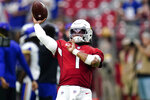 Arizona Cardinals quarterback Kyler Murray (1) warms up prior to an NFL football game against the Minnesota Vikings, Sunday, Sept. 19, 2021, in Glendale, Ariz. (AP Photo/Ross D. Franklin)
