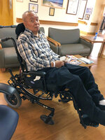 In this Oct. 12, 2019 photo provided by Linda McCall, Army veteran Ralph McCall, is poses in Decatur, Ga. Ralph McCall is one of dozens of veterans who are being moved from a U.S. Department of Veterans Affairs nursing home in Decatur, Georgia, to other VA facilities. The agency said the veterans will be safer in other VA locations less affected by the coronavirus. The agency is also trying to clear out space in the facility in case the adjacent hospital needs it for a surge of COVID-19 patients. Family members are protesting the move. (Linda McCall via AP)