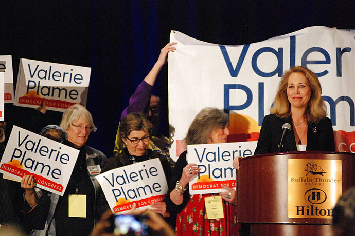Congressional candidate and former CIA operative Valerie Plame of Santa Fe, N.M., seeks support from local party delegates at the Democratic Party preprimary convention in Pojoaque, N.M., Saturday, March 7, 2020. Candidates for open congressional and Senate seats underwent the first test of their political might as the Democratic and Republican parties of New Mexico held statewide conventions. The conventions decide the ballot order for candidates in the state's primary election on June 2. (AP Photo/Morgan Lee)