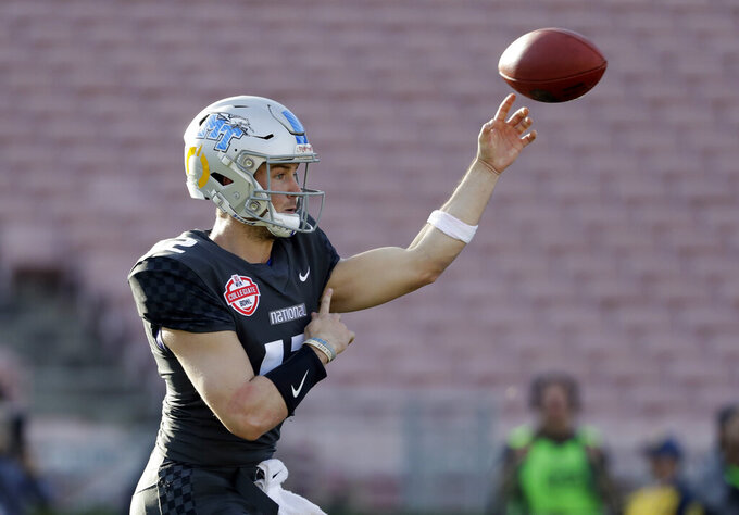 National Team quarterback Brent Stockstill throws against the American Team during the first half of the NFLPA Collegiate Bowl football game Saturday, Jan. 19, 2019, in Pasadena, Calif. (AP Photo/Marcio Jose Sanchez)