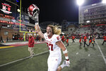Indiana defensive lineman Michael Ziemba (87) celebrates after an NCAA college football game against Maryland, Saturday, Oct. 19, 2019, in College Park, Md. (AP Photo/Nick Wass)