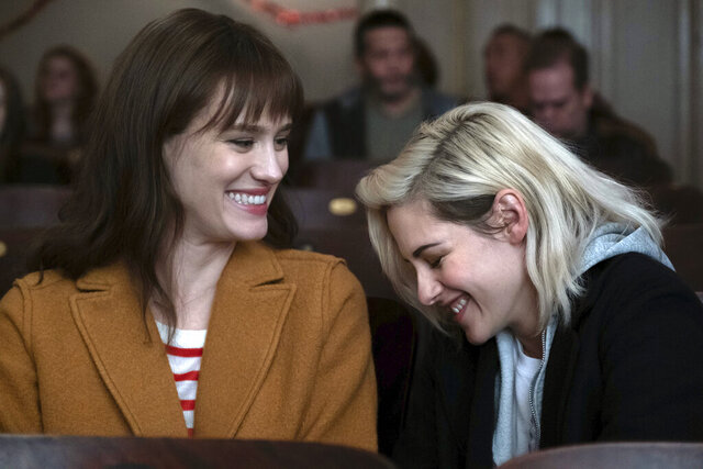 This image released by Hulu shows Mackenzie Davis, left, and Kristen Stewart in a scene from