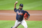 Atlanta Braves starting pitcher Touki Toussaint delivers during the first inning of a baseball game against the Baltimore Orioles, Monday, Sept. 14, 2020, in Baltimore. (AP Photo/Terrance Williams)