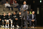 Vanderbilt  head coach Jerry Stackhouse watches during the first half of an NCAA college basketball game against Southeast Missouri State Wednesday, Nov. 6, 2019, in Nashville, Tenn. (AP Photo/Mark Humphrey)