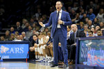 Xavier head coach Travis Steele instructs the team in the first half of an NCAA college basketball game against Creighton Saturday, Jan. 11, 2020, in Cincinnati. (Kareem Elgazzar/The Cincinnati Enquirer via AP)