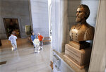 A bust of Nathan Bedford Forrest is displayed in the Tennessee State Capitol Thursday, Aug. 17, 2017, in Nashville, Tenn. Ongoing pleas to remove the bust of the Confederate cavalry general and early Ku Klux Klan leader from the Tennessee Capitol lobby have gone unheeded by statehouse leaders. (AP Photo/Mark Humphrey)
