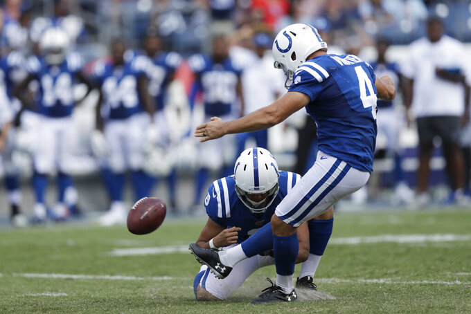 Indianapolis Colts kicker Adam Vinatieri (4) misses his second extra point of the game against the Tennessee Titans in the second half of an NFL football game Sunday, Sept. 15, 2019, in Nashville, Tenn. Holding is Rigoberto Sanchez. (AP Photo/James Kenney)