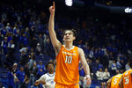 Tennessee's John Fulkerson (10) celebrates after Tennessee defeated Kentucky 81-73 in an NCAA college basketball game Tuesday, March 3, 2020, in Lexington, Ky. (AP Photo/James Crisp)
