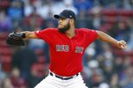 Boston Red Sox's Eduardo Rodriguez pitches during the first inning of the team's baseball game against the Seattle Mariners in Boston, Friday, May 10, 2019. (AP Photo/Michael Dwyer)
