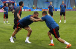 Spain's players take part during Spain's official training on the eve of the group B match between Portugal and Spain at the 2018 soccer World Cup in the Fisht Stadium in Sochi, Russia, Thursday, June 14, 2018. (AP Photo/Manu Fernandez)