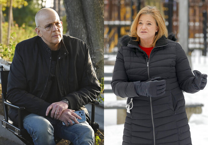 """This combination of photos from the series """"The Circus,"""" shows John Heilemann during an interview at Dodger Stadium in Los Angeles on January 27, 2021, left, and   Jennifer Palmieri during an interview in New York on Feb. 12, 2021. Showtime's political series 'The Circus' returns on Sunday. (Showtime via AP)"""