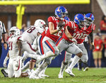 Mississippi linebacker Luke Knox (16) celebrates a fumble recovery against Arkansas during an NCAA college football game Saturday, Sept. 7, 2019, in Oxford, Miss. (Bruce Newman/The Oxford Eagle via AP)