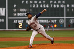 Houston Astros starting pitcher Framber Valdez delivers against the Boston Red Sox during the first inning of a baseball game Tuesday, June 8, 2021, at Fenway Park in Boston. (AP Photo/Winslow Townson)