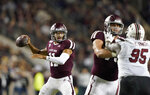 Texas A&M quarterback Kellen Mond (11) throws a pass against South Carolina during the first quarter of an NCAA college football game Saturday, Nov. 16, 2019, in College Station, Texas. (AP Photo/David J. Phillip)