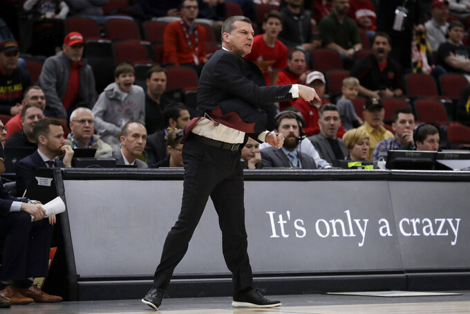 Maryland head coach Mark Turgeon argues a call during the second half of an NCAA college basketball game against the Nebraska in the second round of the Big Ten Conference tournament, Thursday, March 14, 2019, in Chicago. The Nebraska won 69-61. (AP Photo/Nam Y. Huh)