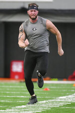 Georgia tight end Isaac Nauta runs a football drill during Georgia Pro Day, Wednesday, March 20, 2019, in Athens, Ga. (AP Photo/John Amis)